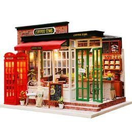 Argentina Cafetería en miniatura Modelo de casa de muñecas Kits de muebles DIY Casa de muñecas de madera con luces LED hechas a mano regalo de cumpleaños de los niños Suministro