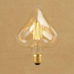 AC220V 230 V 240 V 40 W Vintage Edison Coração Do Vintage Lâmpadas E27 Incandescente Filamento Lâmpada de Carbono-gaiola de Carbono Retro Edison fonte de Luz de