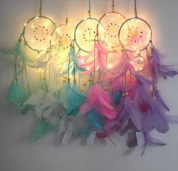 Canada Gratuit DHL Plume Dreamcatcher Fille Catcher Network LED Lumière Dream Catcher Bed Room Suspension Ornement Cartoon Accessoires INS pendentif Offre