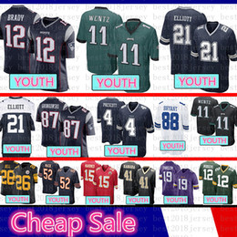 44557a4ea35 Jugend Dallas Jersey Cowboys Kinder 4 Dak Prescott 21 Ezekiel Elliott Philadelphia  Eagles 11 Carson Wentz Patriot 12 Tom Brady 87 Rob Gronkowsk