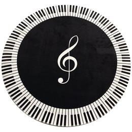 2019 alfombras redondas negras Nueva Alfombra Símbolo de Música Tecla de Piano Negro Blanco Alfombra Redonda Antideslizante Hogar Dormitorio Alfombra Decoración de Piso