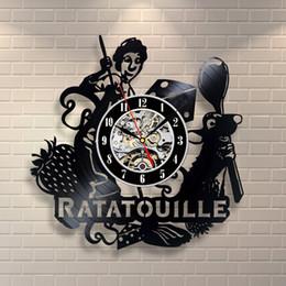 Interiores de cozinha on-line-Ratatouille rato cozinha arte da parede registro de vinil relógio interior decoração home design