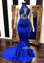 haut col haut robe de bal Promotion De vraies photos bleu royal robes de bal de haut cou personnaliser 2019 sirène voir à travers des perles paillettes top satin longues robes de soirée BC0798
