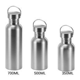 botellas de agua directas deportivas Rebajas Acero inoxidable hervidor de agua para acampar al aire libre Senderismo Ciclismo Deporte de fugas a prueba de tapa de la botella de agua para colgar 350 500 700ML
