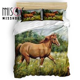 Ölfarbe gesetzt pferde online-Misshouse Pferd Tiere Ölgemälde Bettbezug Set Bettwäsche Trösterbezug Kissenbezüge 4pcs Bettwäsche-Sets