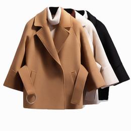 2020 cammello Autunno Inverno Donna breve cappotto di lana 2019 cintura giacca femminile maniche raglan mantello Giacche Elegante singolo pulsante nero Camel Nuovo sconti cammello