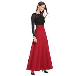 91bbb066ffe wine red skirt 2019 - New High Waist Pleat Elegant Skirt Wine Red Black  Solid Color