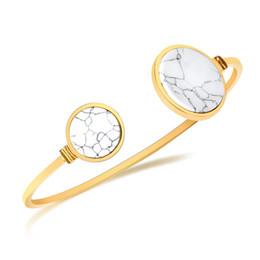 Braccialetto bianco dell'oro delle signore online-Oro colore moda semplice della signora della pietra preziosa cerchio bianco turchese braccialetto bracciale in acciaio inossidabile gioielli regalo per signora donne J331