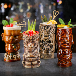 Óculos de barra de tiki on-line-OUSSIRRO criativa Shaman Totem Rosto TIKI Wine Glass Bar Cocktail Óculos Whiskey Cup Beer Cup Juice Cup