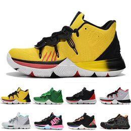 Magia de renda de sapato on-line-2019 Irving 5 5 s V Triplo Amarelo Mens Tênis De Basquete Magia Para Chaussures De Basquete Zapatillas Formadores Dos Homens Tênis Tamanho 40-46