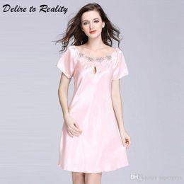Lady Sexy Nightgowns Above Knee Silk Sleepwear Plus Size Night Dress Night  Gown Sleeping Dress Satin Nightwear For Women SQ022 84c43704da73