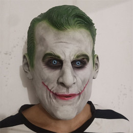 2019 costume completo del burlone Maschere Joker partito Full Face Donne Uomini Maschere Tema Costume maschera di Halloween per adulti in lattice Clown Cosplay costume completo del burlone economici