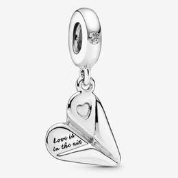 contas de papel Desconto Fits Pandora Autêntico Charm Bracelet Sterling Silver coração Paper Plane 925 Charms Pingente Beads encantos europeus DIY estilo da jóia