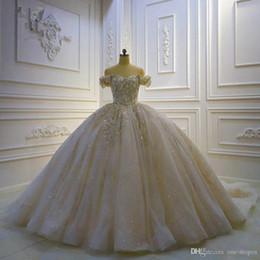 Imagens de off on-line-Real Shoulder Pictures cristal frisado Off bola vestidos de casamento Vestido de Luxo Lace Appliqued Lace-Up Voltar Plus Size Dubai Vestido de Noiva