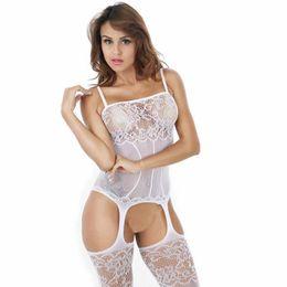 Abertura lingerie on-line-Mulheres Sexy Lace One-Piece Crotch Abertura Babydoll Lingerie com Meias Rendas Set (Black) Lingerie de Renda Nightwear Underwear G-corda Babydol
