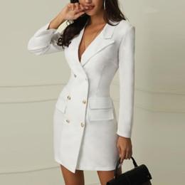 Vestidos de escritório para mulheres on-line-Inverno preto branco blazer dress mulheres manga comprida dress casual v pescoço escritório bodycon dress coreano terno roupas vestidos 2019