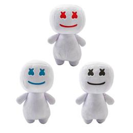 bonecos de doces Desconto 25 CM DJ Marshmello Plush Boneca brinquedos eletrônicos sílaba algodão doce DJ fone de ouvido marshmello boneca de brinquedo de pelúcia Presente de Halloween 3 cores brinquedos infantis