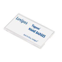 Titolare della carta di nome acrilico online-Supporto acrilico con pin-on per carta d'identità, targhetta con nome identificativo targhetta con nome d'identificazione pin di sicurezza in plastica nome conferenza badge pin sul supporto