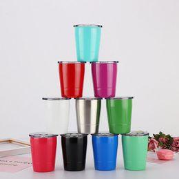 2019 set di tazze d'acciaio Bicchiere da caffè in acciaio inox Bicchiere da caffè portatile Coperchi Set di cannucce Bicchiere da caffè a doppia parete isolato sottovuoto Coppa dell'acqua ripetibile CLS636 set di tazze d'acciaio economici