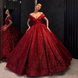 2019 vestidos de quinceañera clásicos Vestidos de noche rojos clásicos 2019 del vestido de fiesta de quinceañera con lentejuelas con hombros descubiertos vestidos de quinceañera clásicos baratos