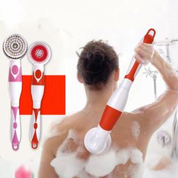 Spazzola massaggiante con manico lungo Spazzola elettrica Accessori per vasca da bagno Cura Massaggiatore Detergente Dispositivo per massaggio Spazzola per massaggio con rullo da