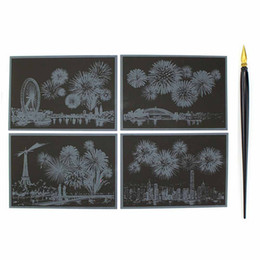 scratch art Coupons - 4x Engraving Colorful Fireworks Night View Scratch Art Postcard Kit Scraper Set
