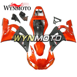 yamaha r6 orange black Coupons - Sportbike Plastic Pieces Orange Flat Black Injection Panels For Yamaha YZF-600 R6 Year 1998 99 00 01 2002 Complete Bike Plastic Cowling Kit