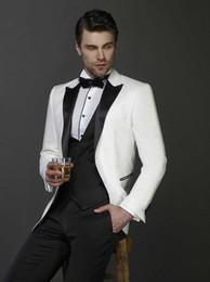 Casamento Marfim Smoking Slim Fit Ternos Para Homens Groomsmen Terno de Três Peças Barato Prom Ternos Formais (Jacket + Pants + Vest + Tie) 239 de