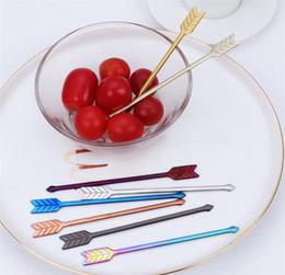 2019 dessert caso 304 Forchetta da frutta in acciaio inox forchetta da dessert a forma di freccia, caffettiera, torta, forchetta, festa nuziale, posate, posate per la casa per pasticceria dessert caso economici