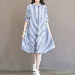 Jupe de partie coréenne en Ligne-2019 Mode Femmes coréenne Style Rayé Longue Chemise Jupe Cravate À Manches Longues Casual Party Lâche Solide Midi Dress