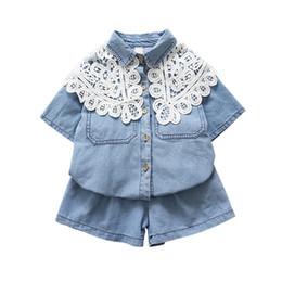 Argentina 2019 niños niñas 2pcs conjuntos Camisas de mezclilla con cuello desmontable de encaje + pantalones cortos sueltos ropa al por mayor Suministro