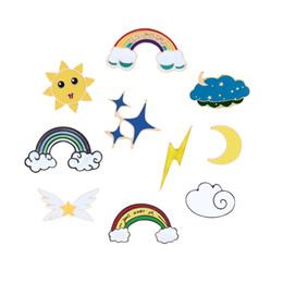 rainbow badge Coupons - Cute Rainbow Clouds Lightning Sun Stars Moon Brooches Collection Metal Enamel Pins Women Badge Fashion Kids Lapel Shirt Jewelry