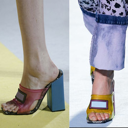 ПВХ сандалии из змеиной кожи Высокий каблук Мулы Слайды женские Дизайнерские сандалии Натуральная кожа роскошные тапочки модные туфли 6 цветов размер 34-42 от