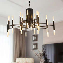 36 inch chains Promo Codes - Modern Chandeliers Lighting 24 36 Lights Black Gold Pendant Ceiling Light Hanging Lamp Fixtures for Kitchen Dining Rooms Living Room Bedroom