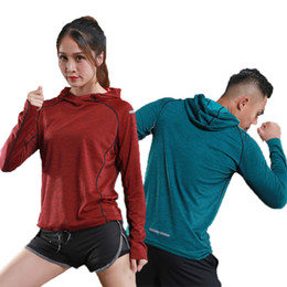 2019 camisas de manga larga transpirables y delgadas Camiseta de running para hombre de manga larga con capucha mujer Rashgard Thin Gym Shirts Fitness Training secado rápido transpirable ropa deportiva rebajas camisas de manga larga transpirables y delgadas