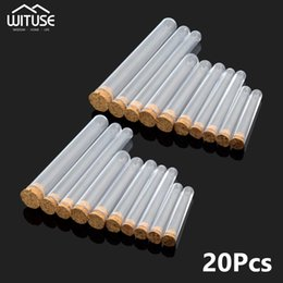научный эксперимент Скидка 20 Pcs Test Tube Coffee  Storage Bottle Transparent PS Hard Plastic with Cork Stoppers For Science Experiment Home Travel