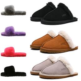 Zapatillas de oveja online-2019 sandalias ugg Australia sandalias chanclas de diseñador de lujo de invierno rojo negro gris rosa púrpura piel de oveja marca zapatillas de casa cálidas para mujer