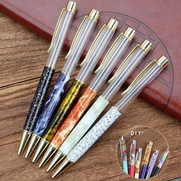 self writing pen Coupons - Marble Patterns Empty Barrel Crystal DIY Pen Handmade Self-Assembling Sand Shell Glitter Foating 3D Oil Kids DIY Pen Free DHL