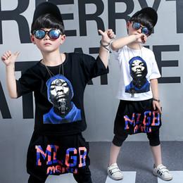 Pantalons de danse garçons en Ligne-Enfants Garçons Vêtements Hip Hop Street Dance Costumes De Sport 2 Pcs Big boy Deux pièces mouvement Set Tshirts Pantalon Causal Tops Sarouel