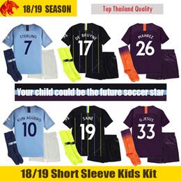Kun aguero niños camiseta online-18 19 Manchester City Niños Camisetas de Fútbol 2018 MAHREZ G.JESUS Manchester City KUN AGUERO Niños Juegos de Fútbol SILVA STERLING Man City DE BRUYNE Niños Uniforme de Fútbol