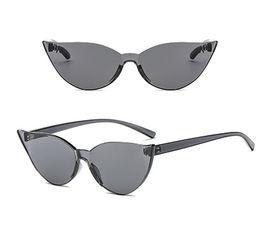 2019 óculos de sol do olho de gato dos doces New Designer de Moda Mulheres Óculos De Sol Ao Ar Livre Colorido Sem Aro Óculos de Sol Doces Resina Lentes de Olho de Gato Eyewear Venda Quente óculos de sol do olho de gato dos doces barato