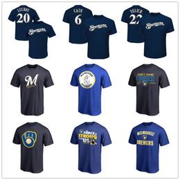 Пивовары Бейсбол Джерси Милуоки футболки мужские дизайнерские 22 Кристиан Елих 21 Шоу 6 Каин 24 Иисус Агилар Поклонники топы Тис с логотипом от