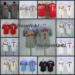 St cream online-Mens Ozzie Smith Jerseys St. Louis 1 Ozzie Smith cosido en béisbol Jersey Smith 1 blanco crema rojo azul Bordar camiseta de béisbol