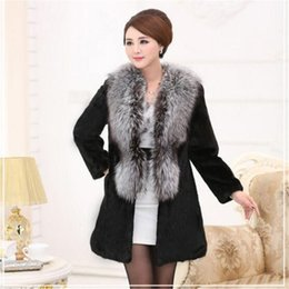 mink jackets fox collars Promo Codes - winter Large sizes mink coat with fur for women winter warm jacket women coat with faux fur female Fox collar jacket coat367