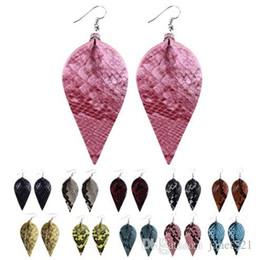 Ledergewichte online-Schlangenhaut Leder Ohrringe -Light Weight Leder Blatt Blütenblatt baumeln Ohrringe für Mädchen Damen