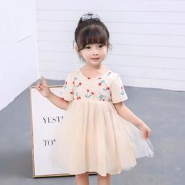 Sweet Girl Cherry Print Tutu Robes Été 2019 Enfants Boutique Vêtements 2-7Y Petites Filles Manches Courtes Princesse Robes De Gaze ? partir de fabricateur