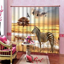 Zebra-raumvorhänge online-African Steppe Zebra Eagle Vorhang 3D Digitaldruck für Wohnzimmer Schlafzimmer Verdunkelungsvorhang