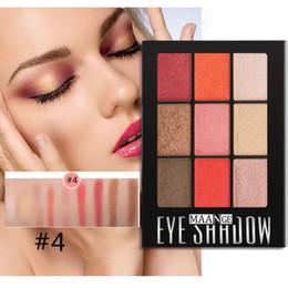 крем палитры теней для век Скидка MAANGE Палитра теней для век 9 цветов для женщин Новый косметический матовый крем-палитра для макияжа Shimmer Multicolor Eyeshadow + Brush Set 19L0711