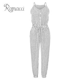 striped jumpsuits Promo Codes - Romacci Women Plus Size Jumpsuit Striped Buttons Spaghetti Strap Sleeveless Overalls Elastic Drawstring High Waist Casual Romper Y19051501