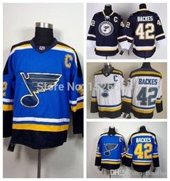 2019 billige hockeyschnürsenkel 2016 männer St. Louis Blues 42 David Backes Jersey Dunkelblau Schwarz Weiß Günstige authentische Schnürung Hals Vintage Genäht Hockey Trikots rabatt billige hockeyschnürsenkel